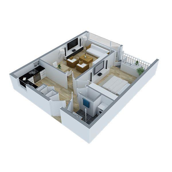 3D plattegrond tweekamer appartement