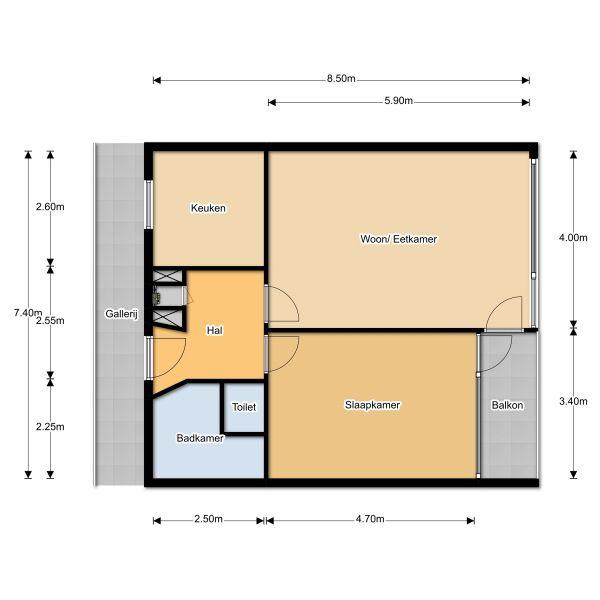 Plattegrond tweekamer appartement